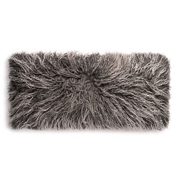 """UGG® - Mongolian Sheepskin Fur Decorative Pillow, 30"""" x 14"""""""