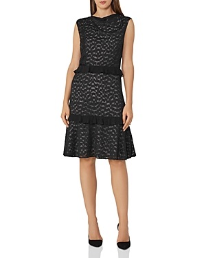 Reiss Abigail Ruffled Embroidered Burnout Dress