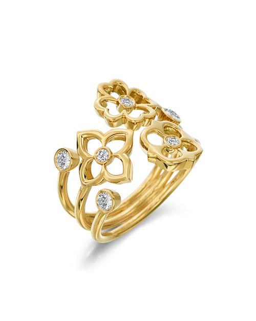 Gumuchian - 18K Yellow Gold Mini G Boutique Floral Diamond Ring