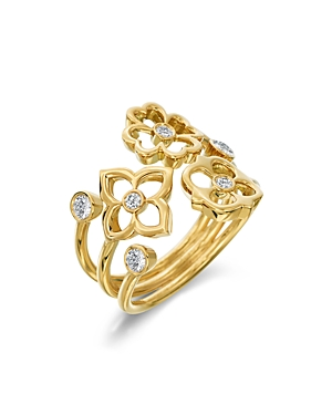 Gumuchian 18K Yellow Gold Mini G Boutique Floral Diamond Ring