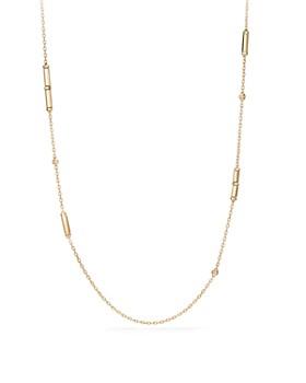 David Yurman - Barrels Long Station Necklace with Diamonds in 18K Gold