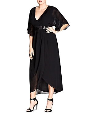 City Chic Embellished Faux-Wrap Maxi Dress