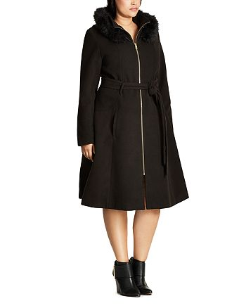 City Chic Plus - Miss Mysterious Hooded Coat