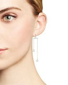 MATEO - 14K Yellow Gold Diamond Bar Duo Pearl Drop Earrings