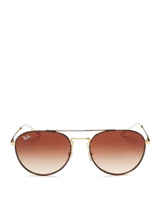 $Ray-Ban Brow Bar Round Sunglasses, 55mm - Bloomingdale's