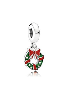 PANDORA Charm - Sterling Silver & Enamel Holiday Wreath - Bloomingdale's_0