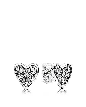 PANDORA - Earrings - Sterling Silver & Cubic Zirconia Hearts of Winter