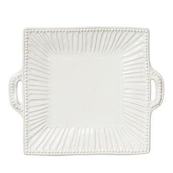 VIETRI - Incanto Stone White Stripe Square Handled Platter