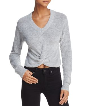 Olivaceous Twist-Front Cropped Sweater
