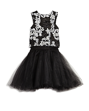 Miss Behave Girls' Embroidered Floral Top & Tutu Skirt - Big Kid