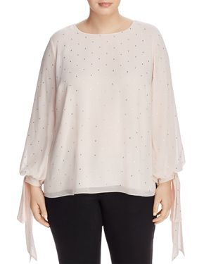 Vince Camuto Plus Gilded Diamonds Tie-Sleeve Top