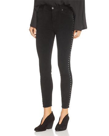 $Band of Gypsies Lola Studded Skinny Velveteen Jeans in Black - Bloomingdale's