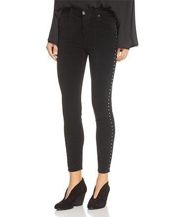 Band of Gypsies - Lola Studded Skinny Velveteen Jeans in Black