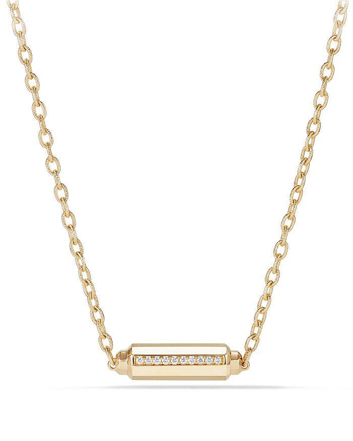 David Yurman - Barrels Station Necklace with Diamonds in 18K Gold