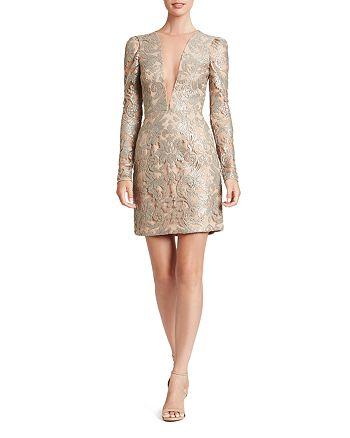 Dress the Population - Claudia Illusion-Neckline Dress