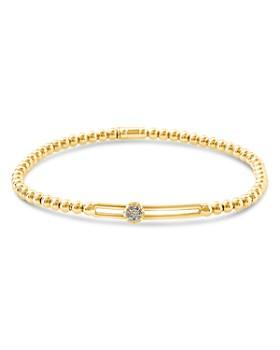 Hulchi Belluni - 18K Yellow Gold Tresore Diamond Single Station Stretch Bracelet