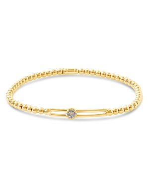 HULCHI BELLUNI 18K Yellow Gold Tresore Diamond Single Station Stretch Bracelet in White/Gold
