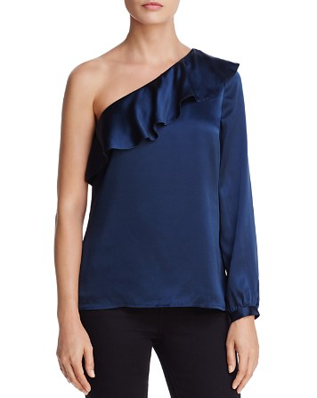 $CAMI NYC Abigail Ruffled One-Shoulder Silk Top - Bloomingdale's