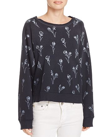 Current/Elliott - The Open-Back Floral Print Sweatshirt