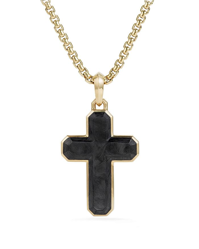 David Yurman - Men's Forged Carbon Cross Tag with 18K Gold