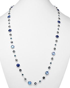IPPOLITA - Sterling Silver Lollipop Lapis Doublet, London Blue Topaz & Hematite Necklace in Eclipse, 36""
