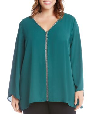 Karen Kane Plus Sparkle Trim Bell Sleeve Blouse