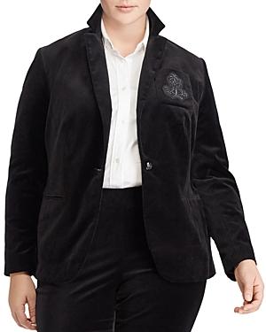 Lauren Ralph Lauren Plus Velvet Crest Embroidered Blazer