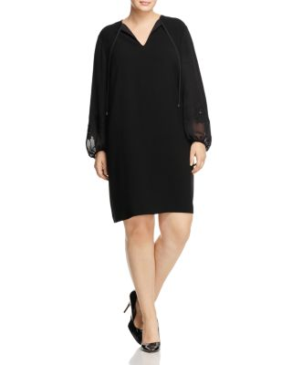 LAFAYETTE 148 NEW YORK PLUS Eli Dress With Chiffon Lace Sleeves, Plus Size in Black