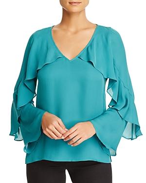 Kobi Halperin Ryann Ruffle Bell Sleeve Silk Blouse