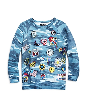 Aqua x Lauren Moshi Girls' Camo-Print Love Pullover, Big Kid - 100% Exclusive