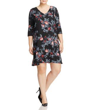 Junarose Aubergine Floral Print Dress