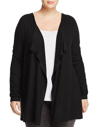 B Collection by Bobeau Curvy - Delanie Ruched Sleeve Open Front Cardigan
