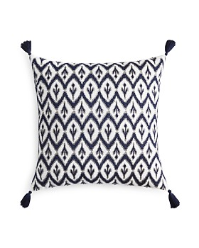 """Sky - Ines Ikat Embroidered Decorative Pillow, 22"""" x 22"""" - 100% Exclusive"""