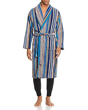 Derek Rose Striped Velour Robe