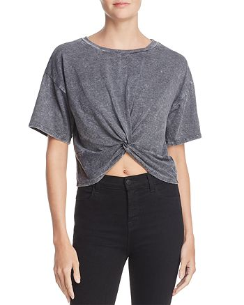 Honey Punch - Washed Twist Front Crop Top