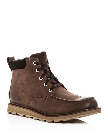 Sorel - Men's Madson Moc Toe Waterproof Leather Lace Up Boots