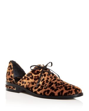 FREDA SALVADOR WOMEN'S WIT LEOPARD PRINT CALF HAIR D'ORSAY OXFORDS