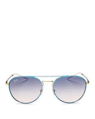$Ray-Ban Brow Bar Round Sunglasses, 55mm - Bloomingdale's