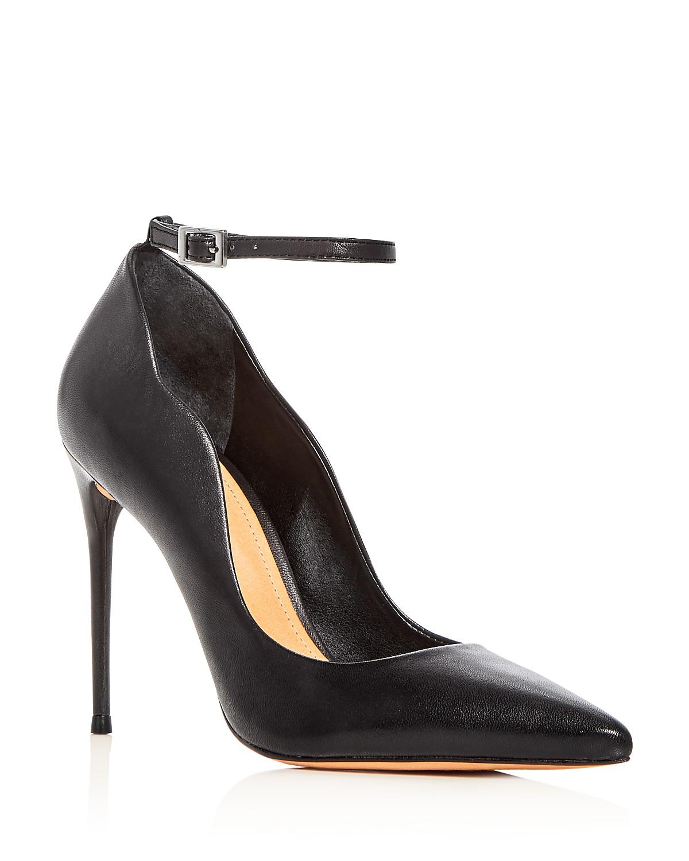 Schutz Women's Thaynara Leather Ankle Strap Pointed Toe Pumps RO2h3
