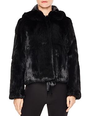 Sandro Varda Tie-Front Real Rabbit Fur Jacket