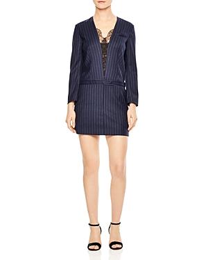 Sandro Enora Striped Lace-Trimmed Mini Dress