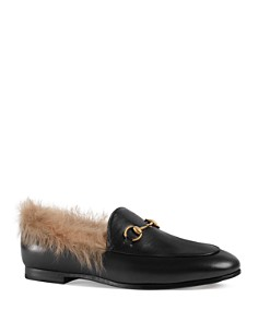 Gucci - Women's Jordaan Leather & Lamb Fur Loafers