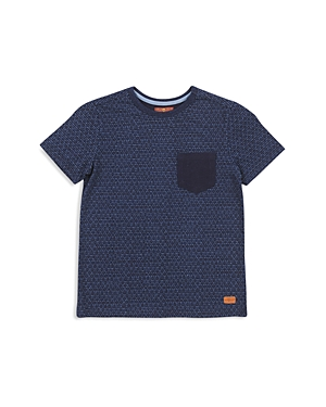 7 For All Mankind Boys Indigo Geo Print Pocket Tee  Little Kid