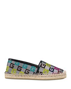 Gucci - Women's Embossed Velvet G Espadrille Flats
