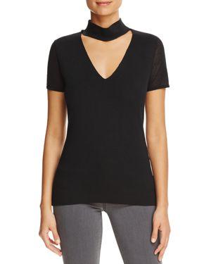 T Tahari Giandra Short Sleeve Mock Neck Sweater In Black Modesens