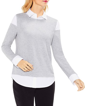 $VINCE CAMUTO Layered-Look Collar Top - Bloomingdale's