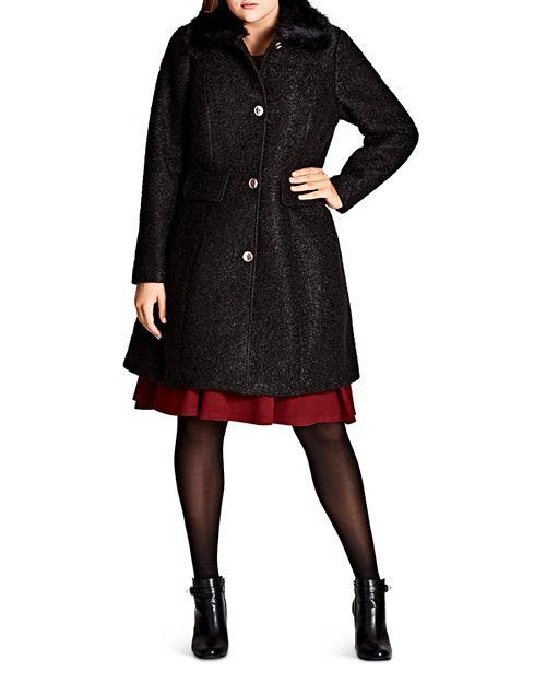 City Chic Plus - Winter Rose Faux Faur-Collar Coat