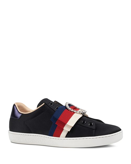 Gucci - Women's Ace Bow Satin Slip-On Sneakers