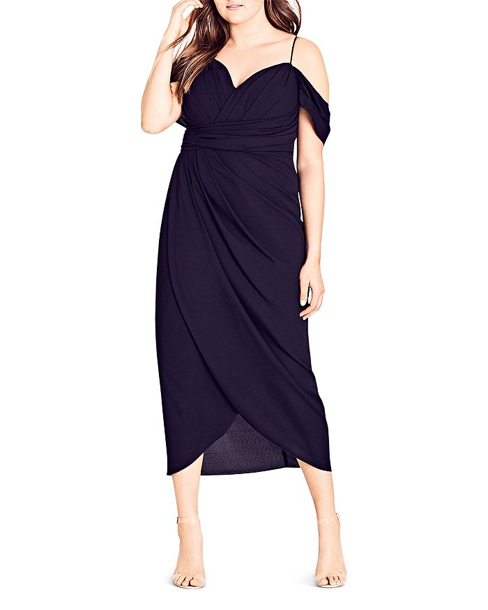 c086a1e64c27a City Chic Plus - Entwine Ruched Cold-Shoulder Maxi Dress