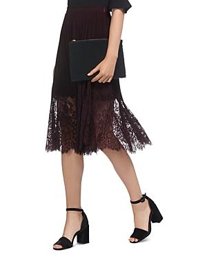 Whistles Lillian Pleated Illusion-Hem Lace Skirt